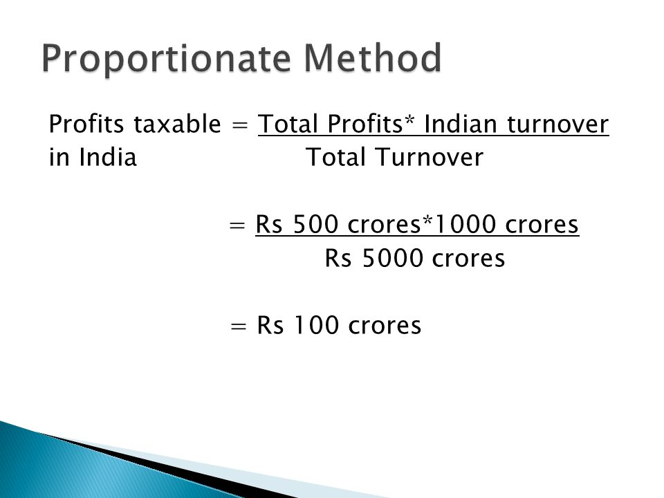 Proportionate Method Profits taxable = Total Profits* Indian turnover