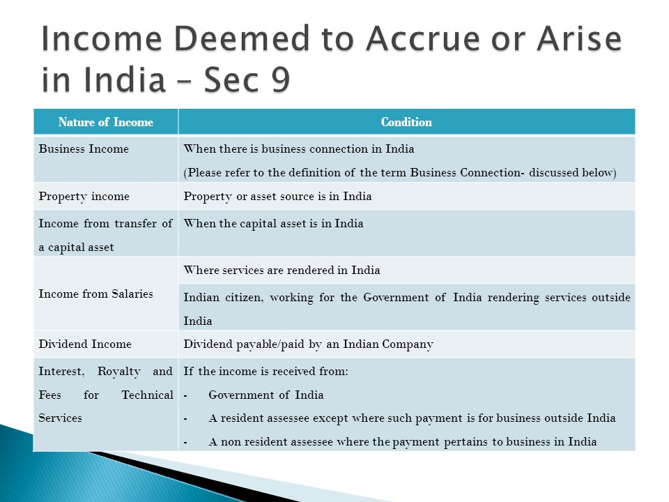 Income Deemed to Accrue or Arise in India – Sec 9