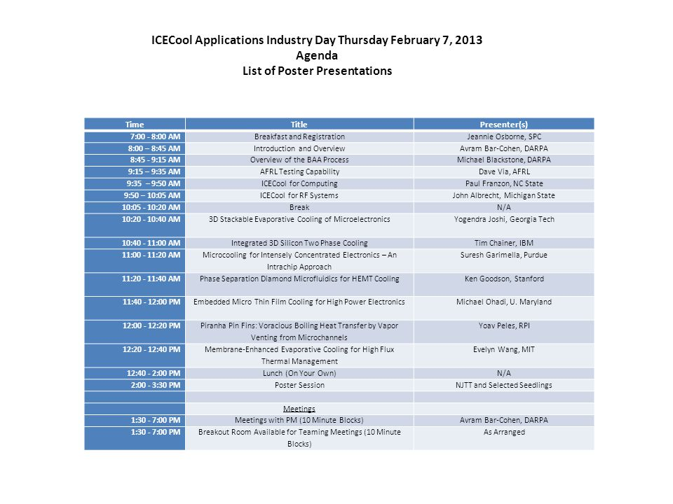 ICECool Applications Industry Day Thursday February 7, 2013 Agenda