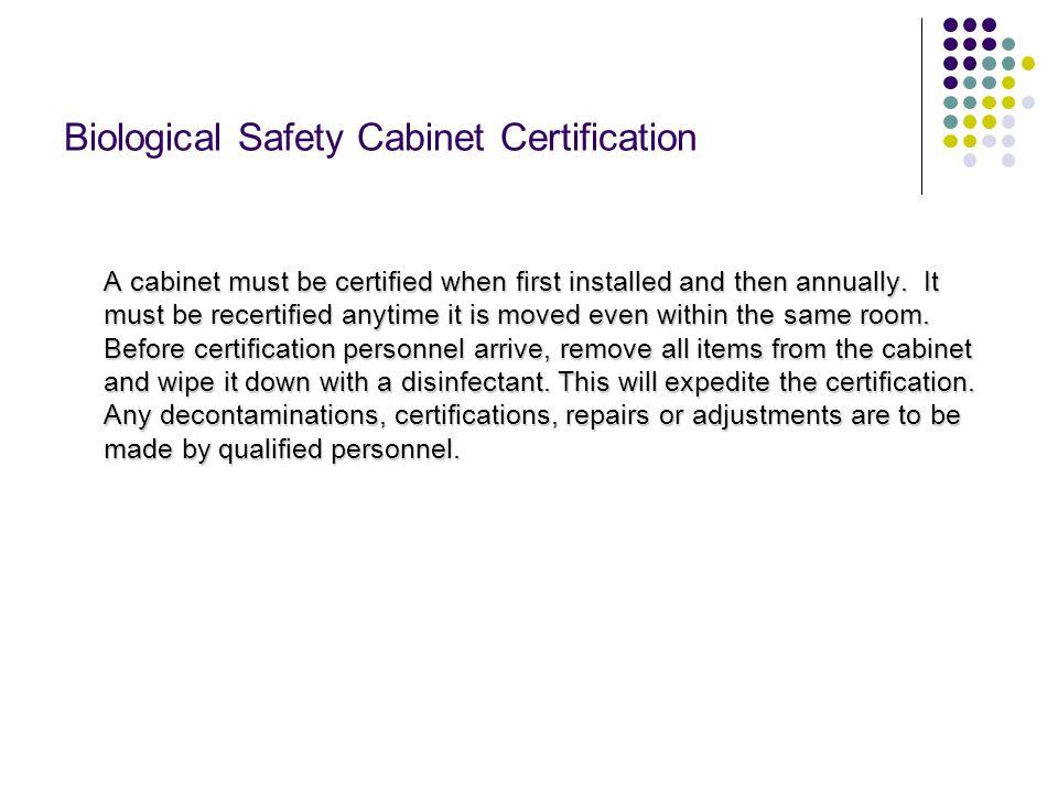 Biological Safety Cabinet Certification