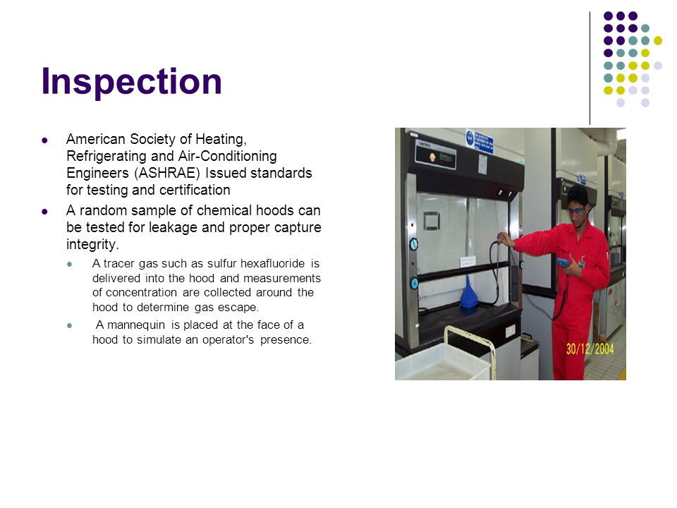 Inspection American Society of Heating, Refrigerating and Air-Conditioning Engineers (ASHRAE) Issued standards for testing and certification.