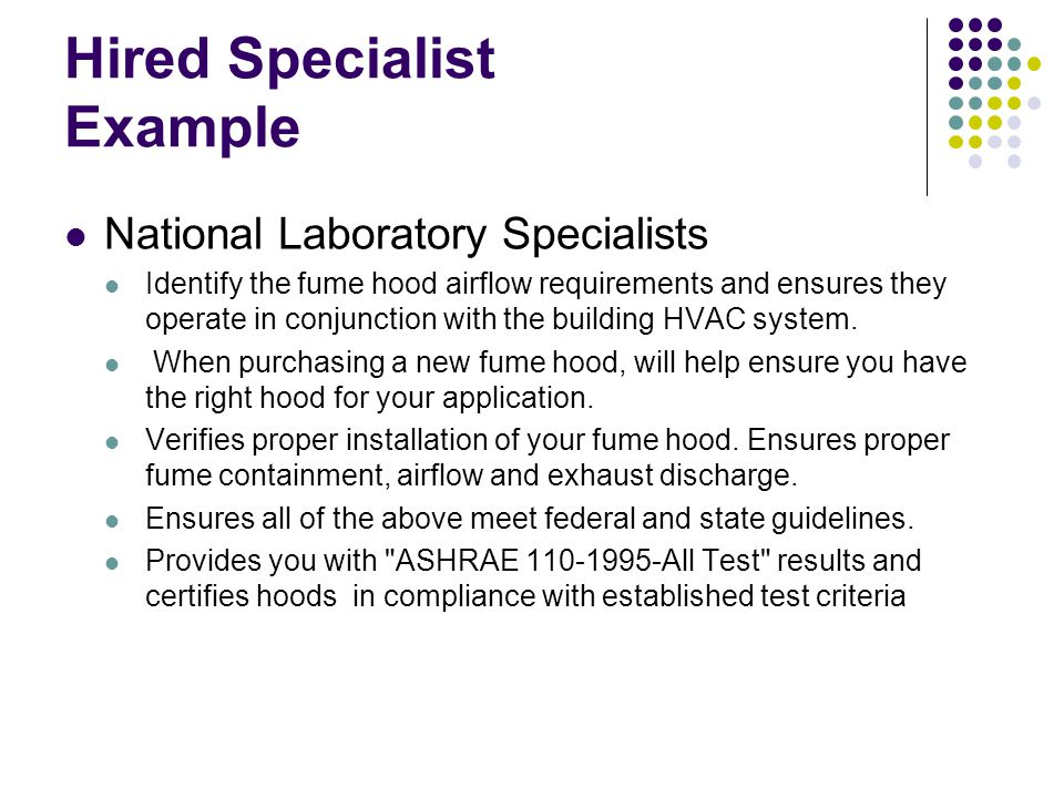 Hired Specialist Example