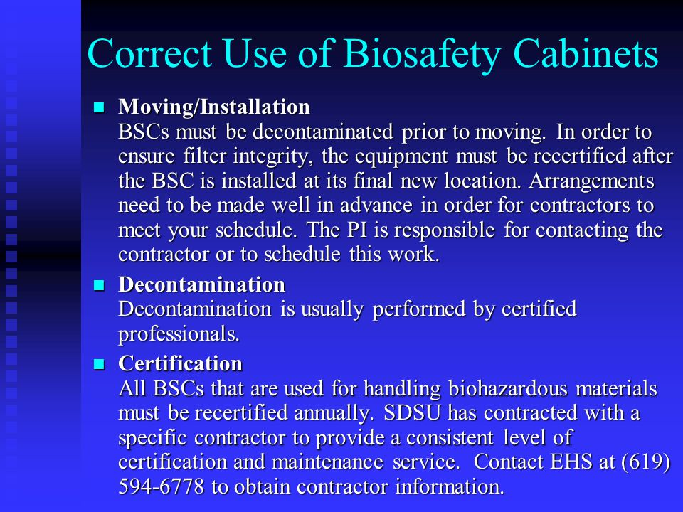 Correct Use of Biosafety Cabinets