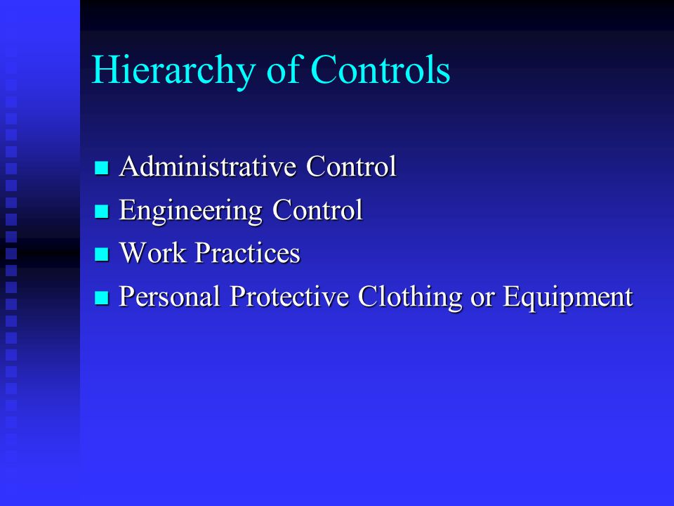 Hierarchy of Controls Administrative Control Engineering Control