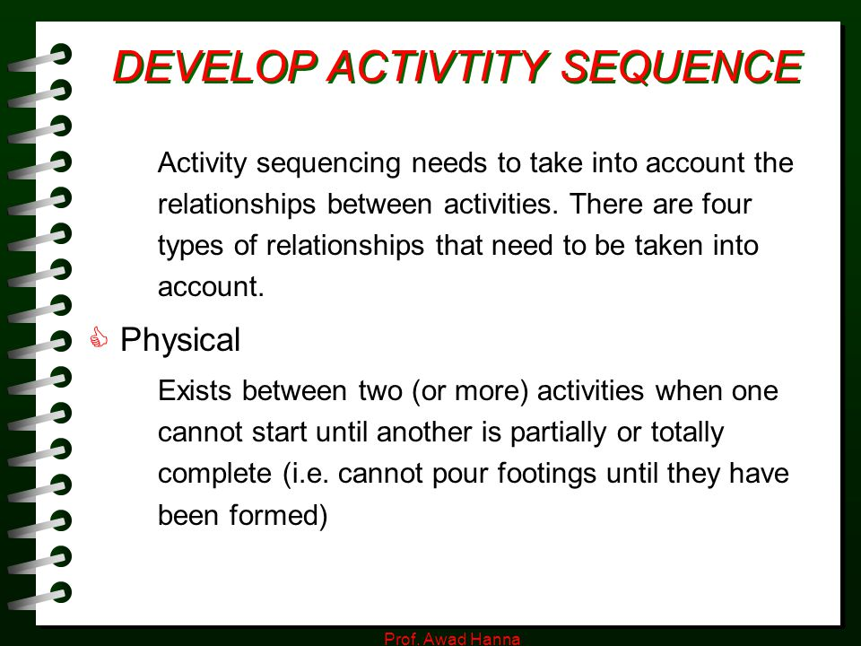 DEVELOP ACTIVTITY SEQUENCE