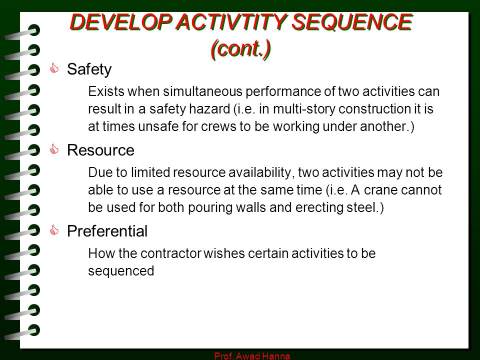 DEVELOP ACTIVTITY SEQUENCE (cont.)