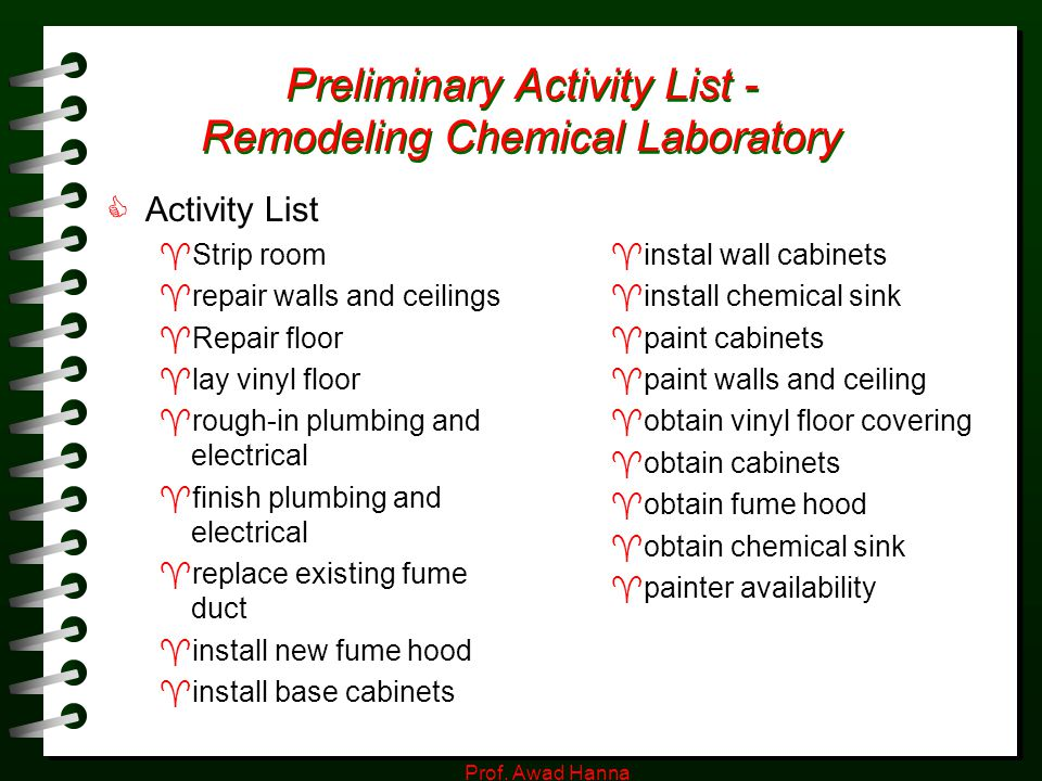 Preliminary Activity List - Remodeling Chemical Laboratory
