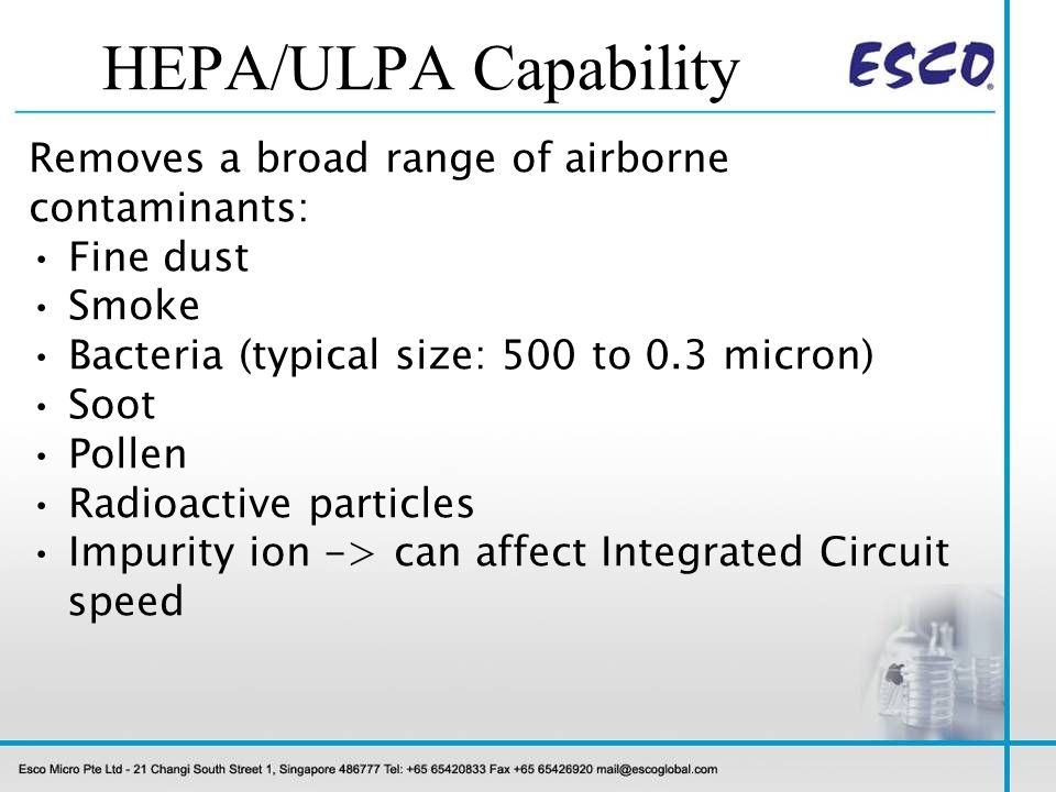 HEPA/ULPA Capability Removes a broad range of airborne contaminants: