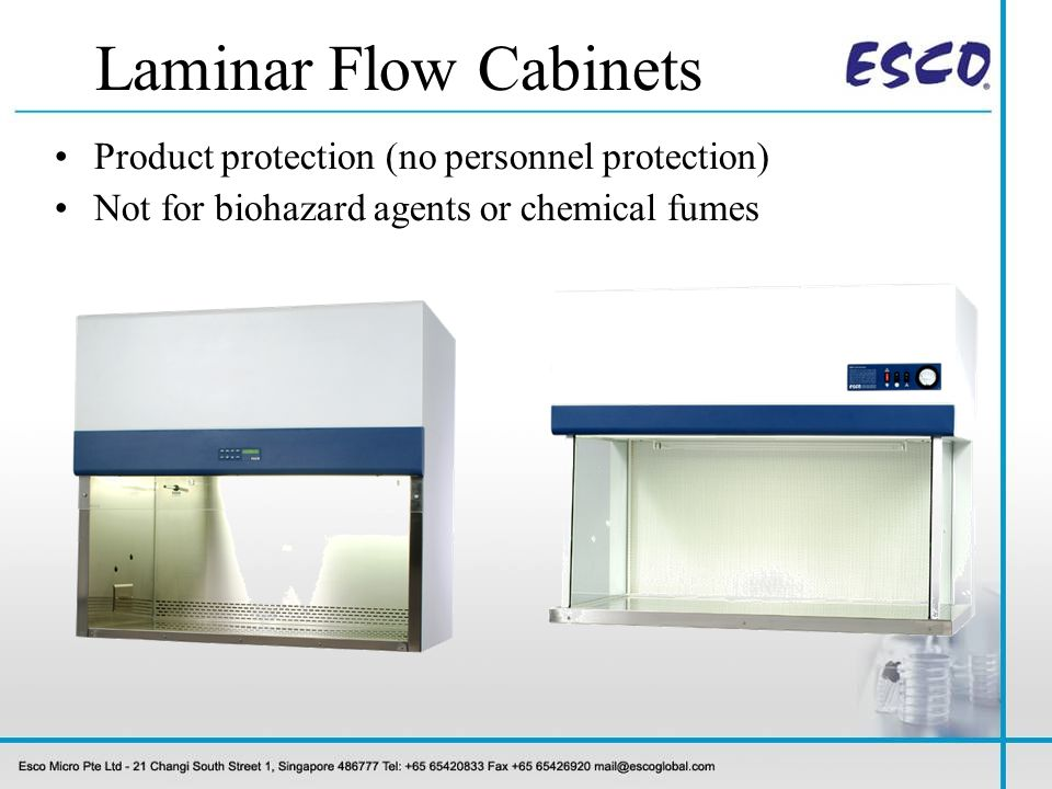 Laminar Flow Cabinets Product protection (no personnel protection)