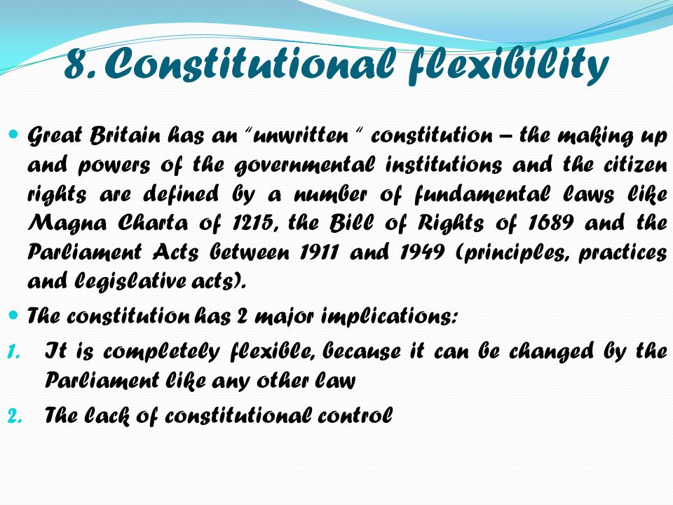 8. Constitutional flexibility
