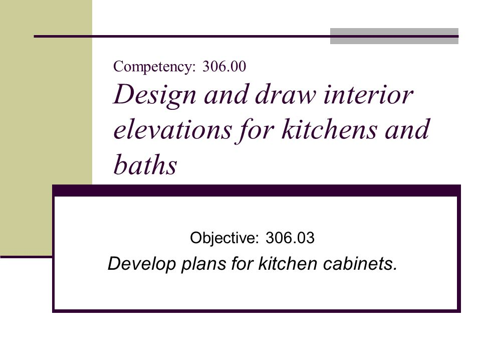 Kitchen Cabinets Elevations objective: develop plans for kitchen cabinets. - ppt download