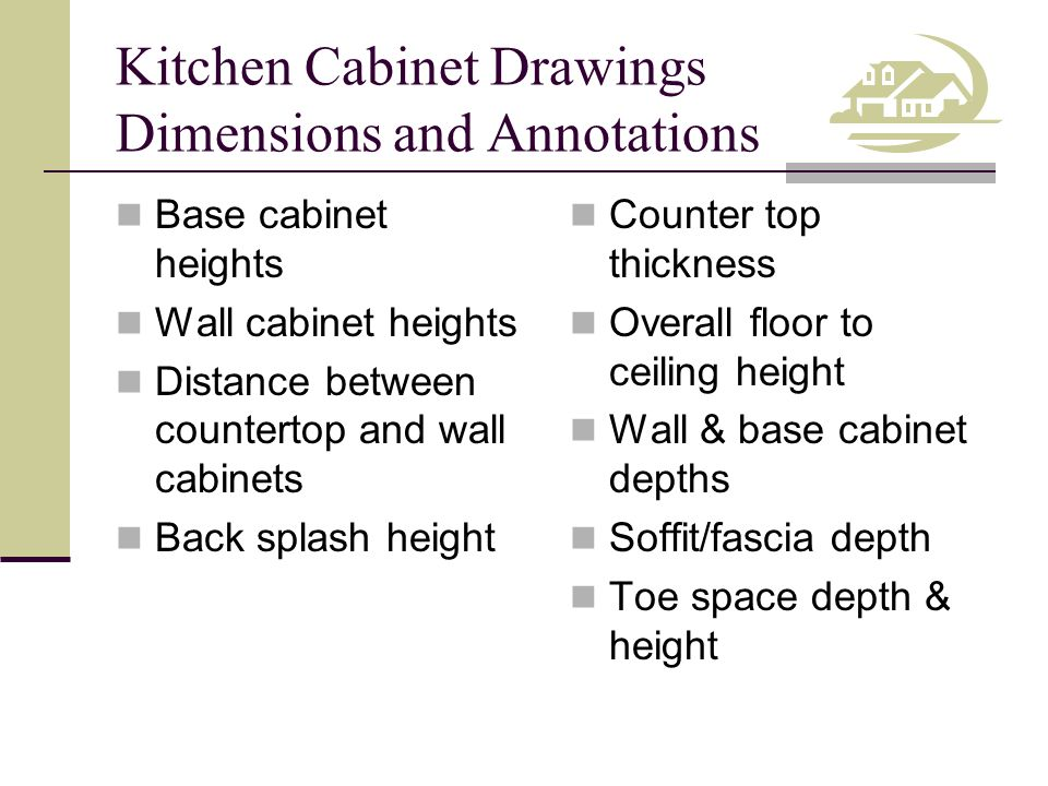 Kitchen Cabinet Drawings Dimensions and Annotations