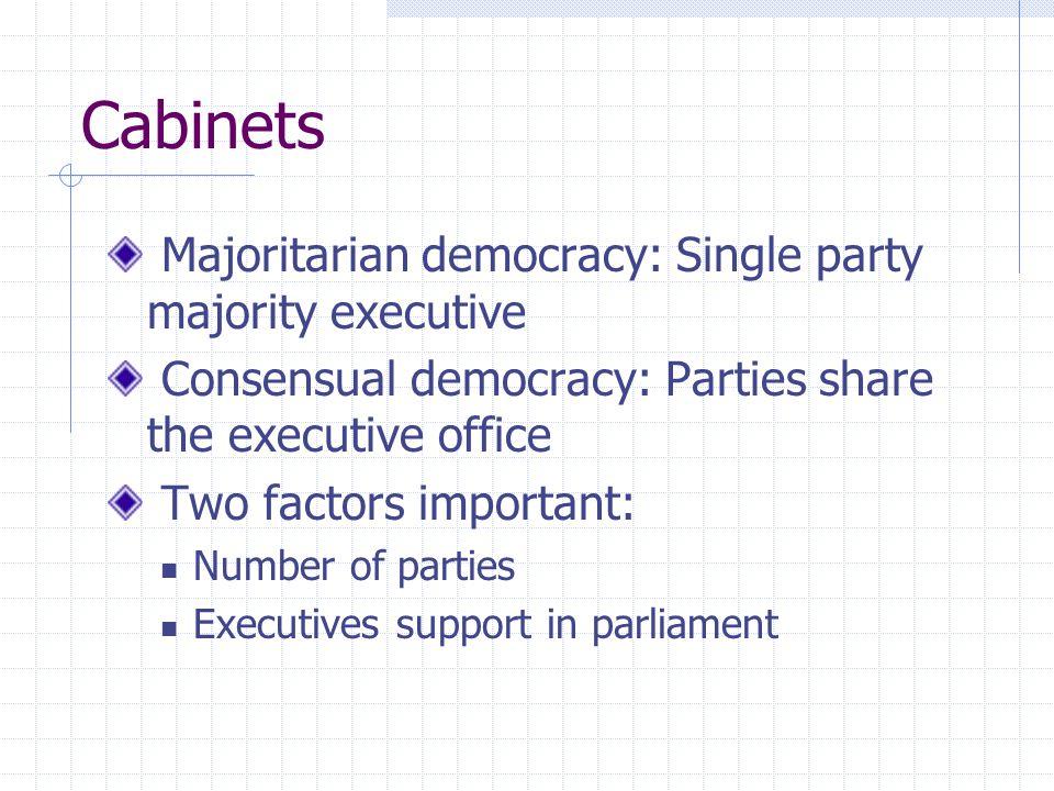 Cabinets Majoritarian democracy: Single party majority executive