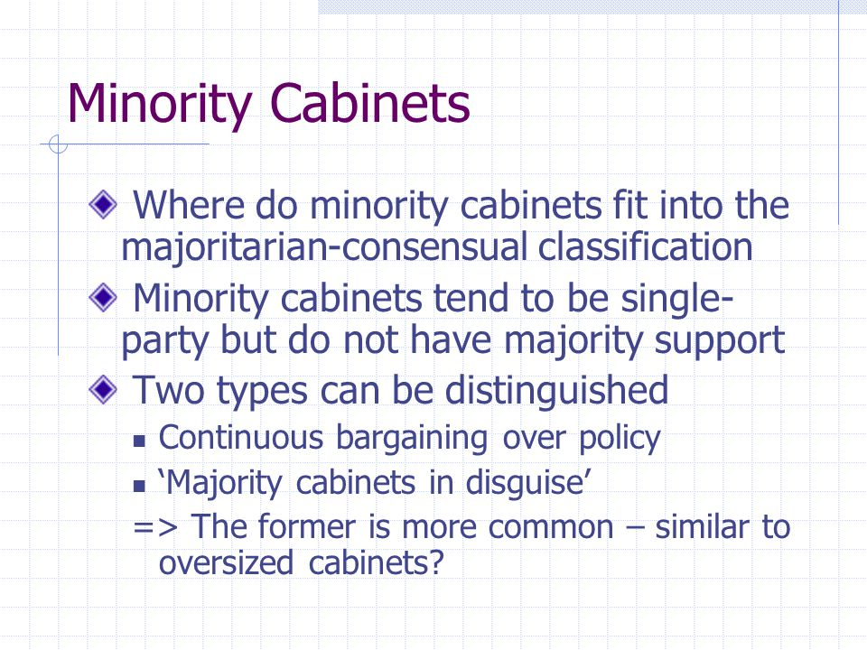 Minority Cabinets Where do minority cabinets fit into the majoritarian-consensual classification.