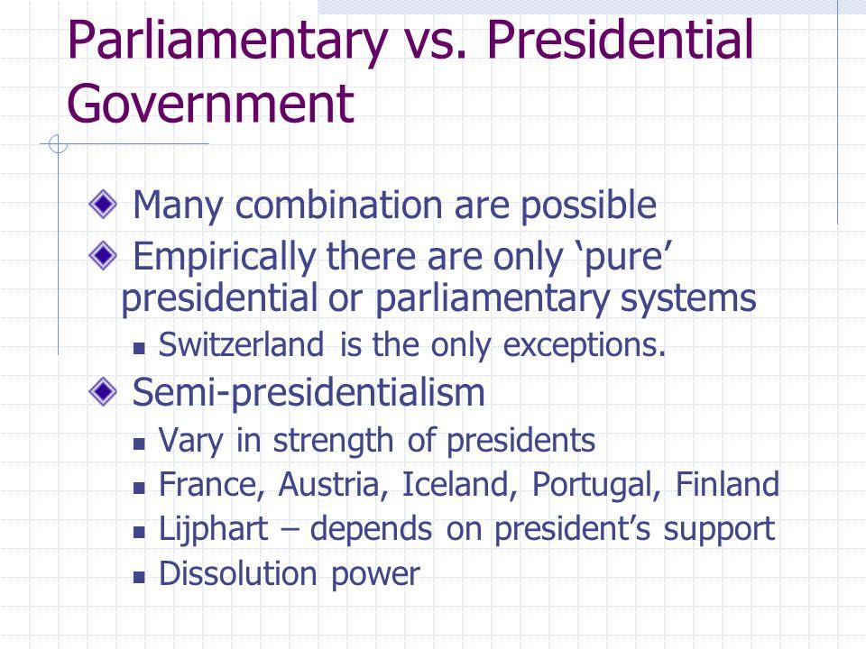 Parliamentary vs. Presidential Government