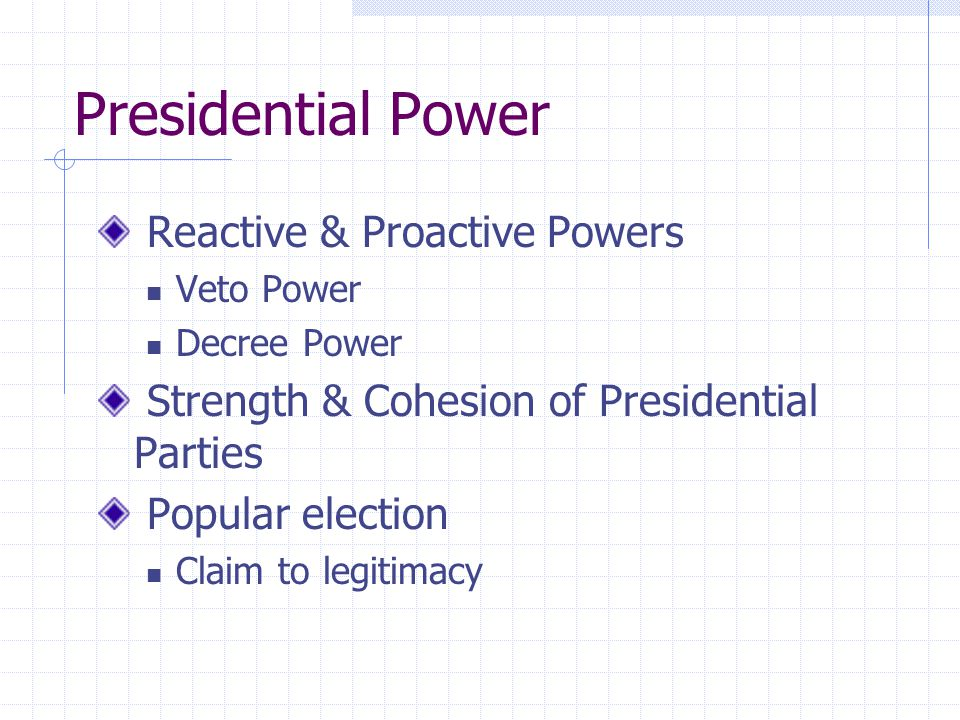 Presidential Power Reactive & Proactive Powers