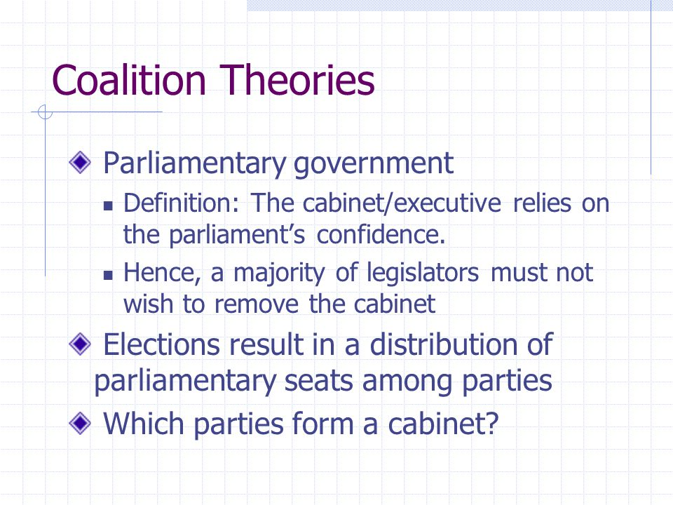Coalition Theories Parliamentary government