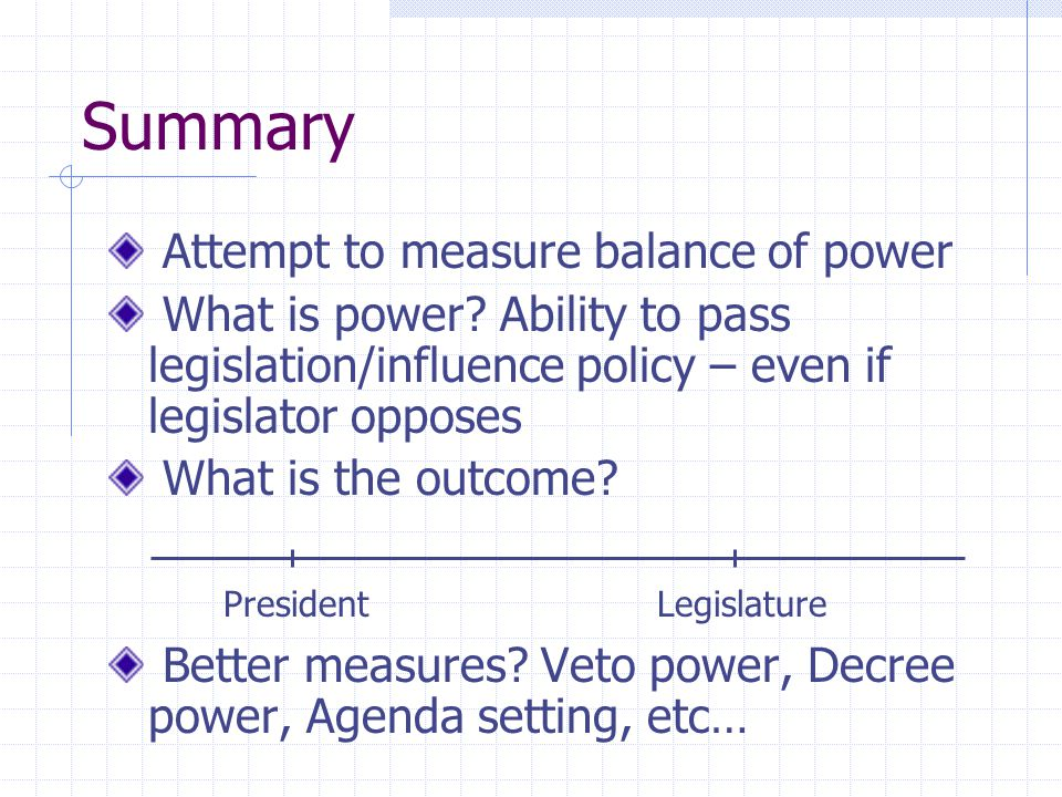 Summary Attempt to measure balance of power