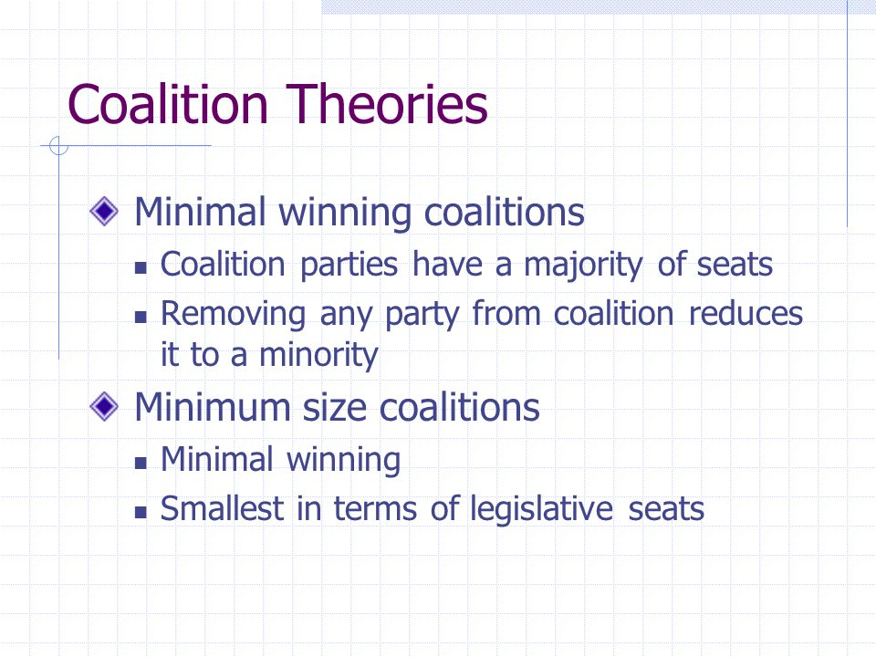 Coalition Theories Minimal winning coalitions Minimum size coalitions