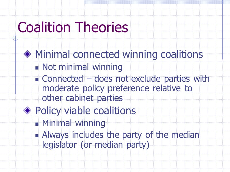 Coalition Theories Minimal connected winning coalitions