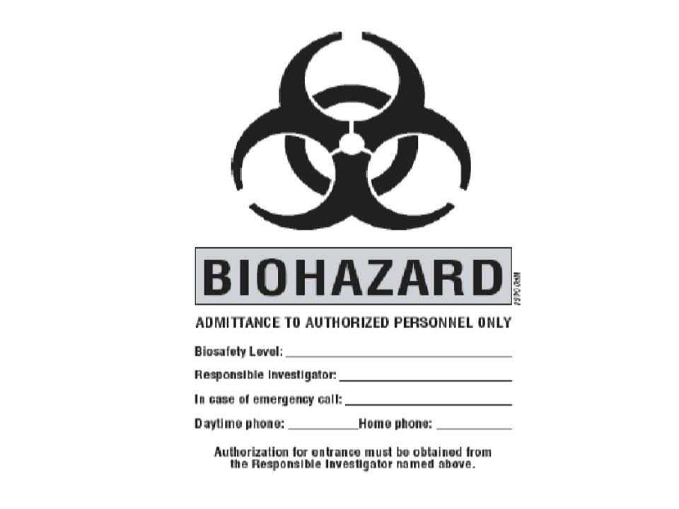 Posted information must include the laboratory's biosafety level, the supervisor's name (or other responsible personnel), telephone number, and required procedures for entering and exiting the laboratory.