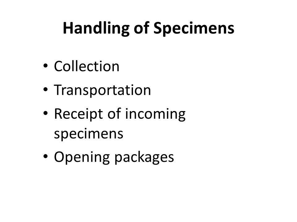Handling of Specimens Collection Transportation