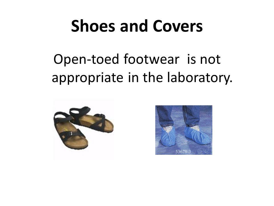 Open-toed footwear is not appropriate in the laboratory.