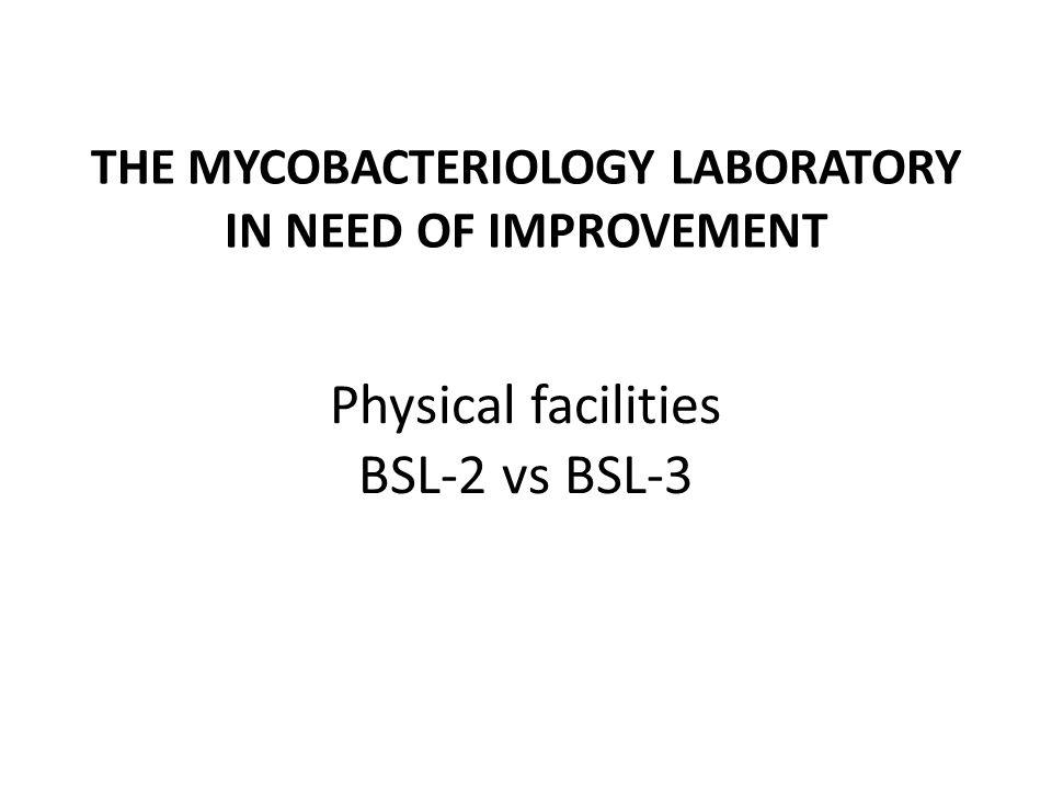 THE MYCOBACTERIOLOGY LABORATORY IN NEED OF IMPROVEMENT