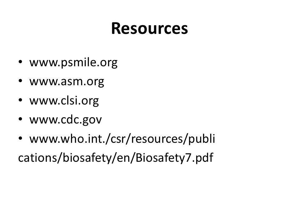 Resources www.psmile.org www.asm.org www.clsi.org www.cdc.gov