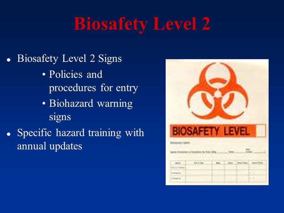 Biosafety Level 2 Biosafety Level 2 Signs