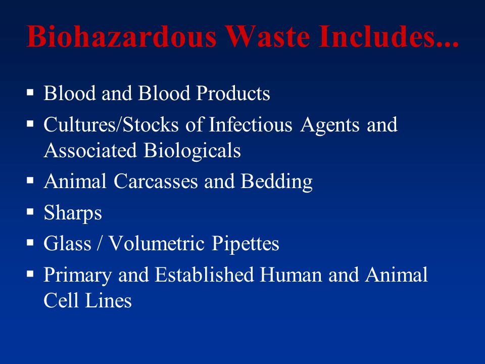 Biohazardous Waste Includes...