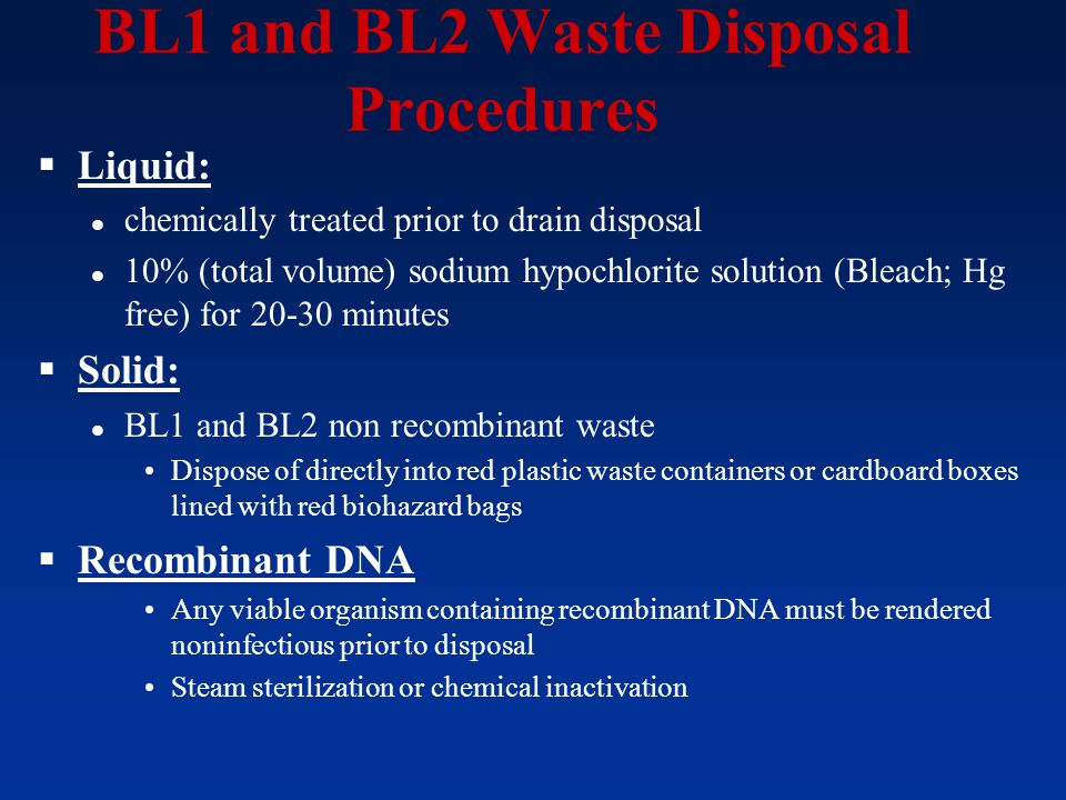 BL1 and BL2 Waste Disposal Procedures