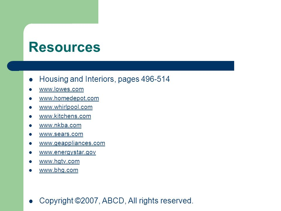 Resources Housing and Interiors, pages 496-514