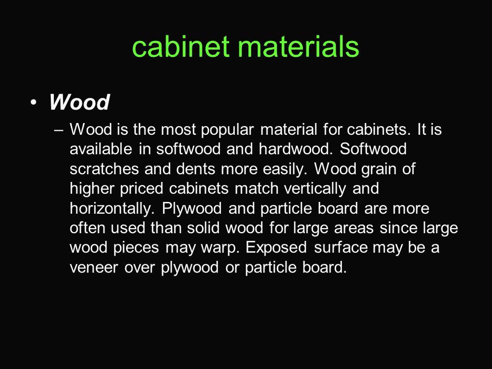 cabinet materials Wood