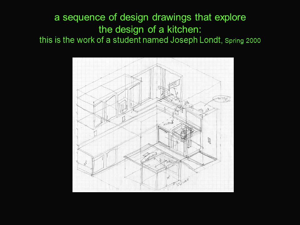 a sequence of design drawings that explore the design of a kitchen: this is the work of a student named Joseph Londt, Spring 2000