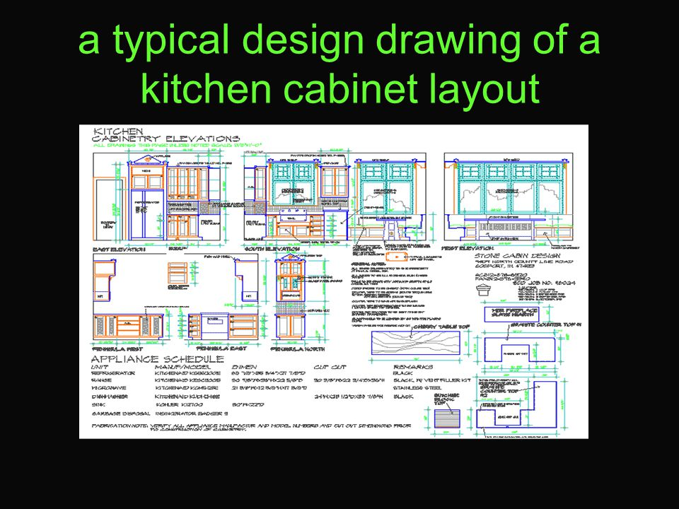 a typical design drawing of a kitchen cabinet layout