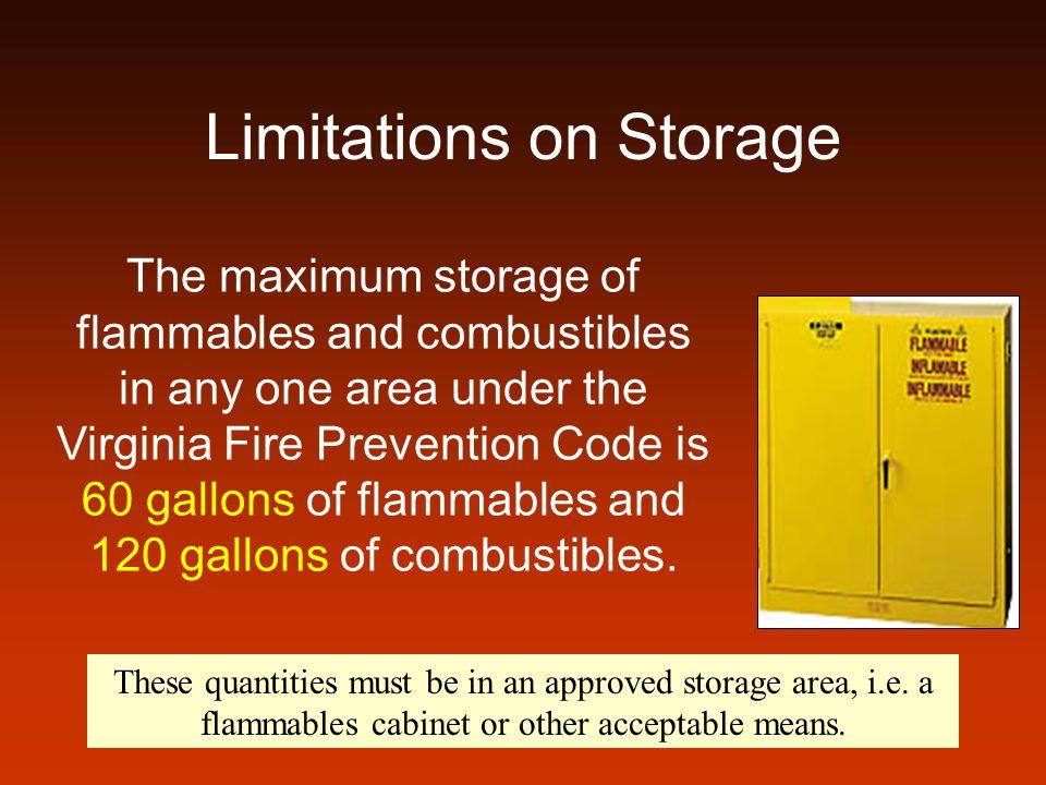 Limitations on Storage
