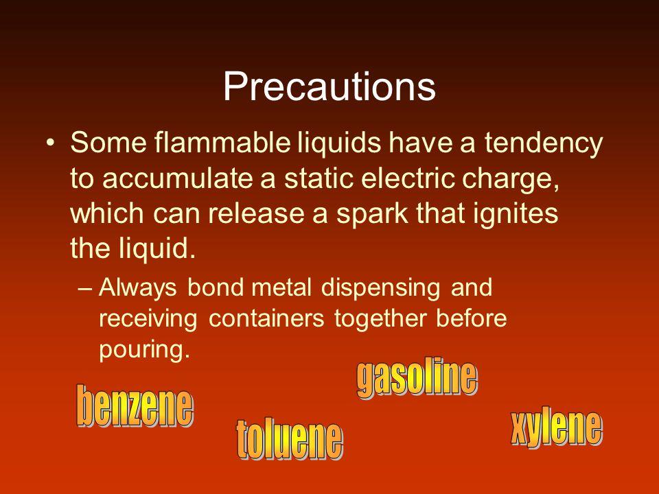Precautions gasoline benzene xylene toluene
