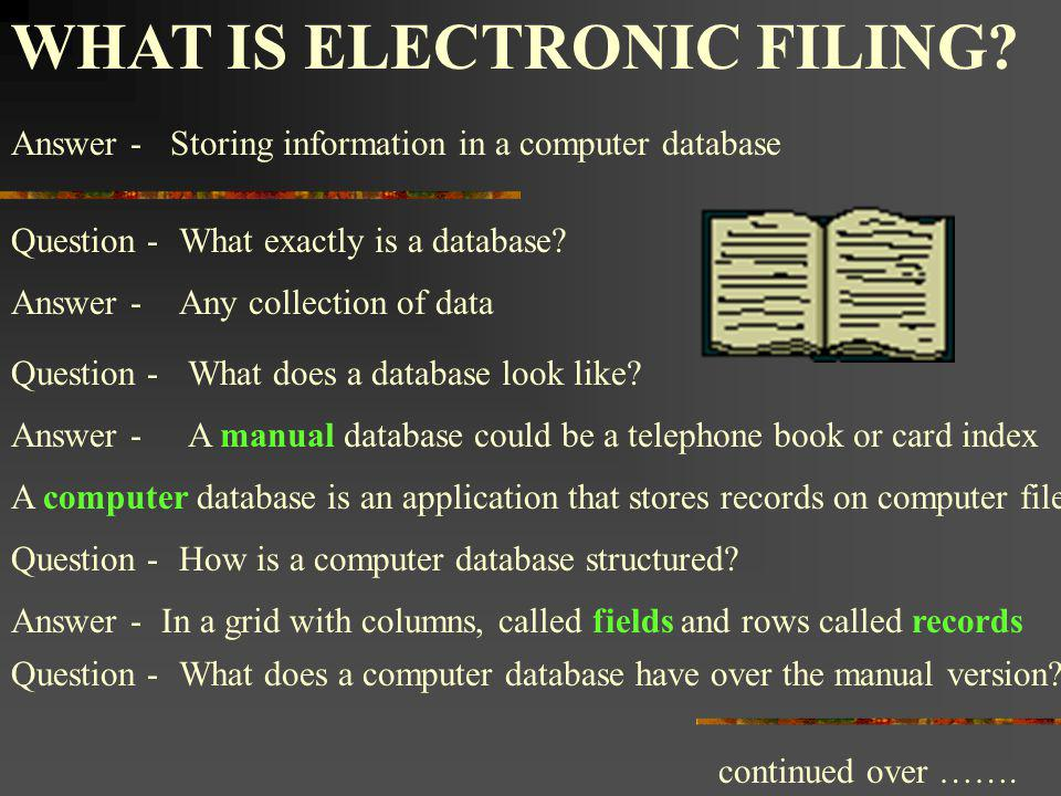 WHAT IS ELECTRONIC FILING