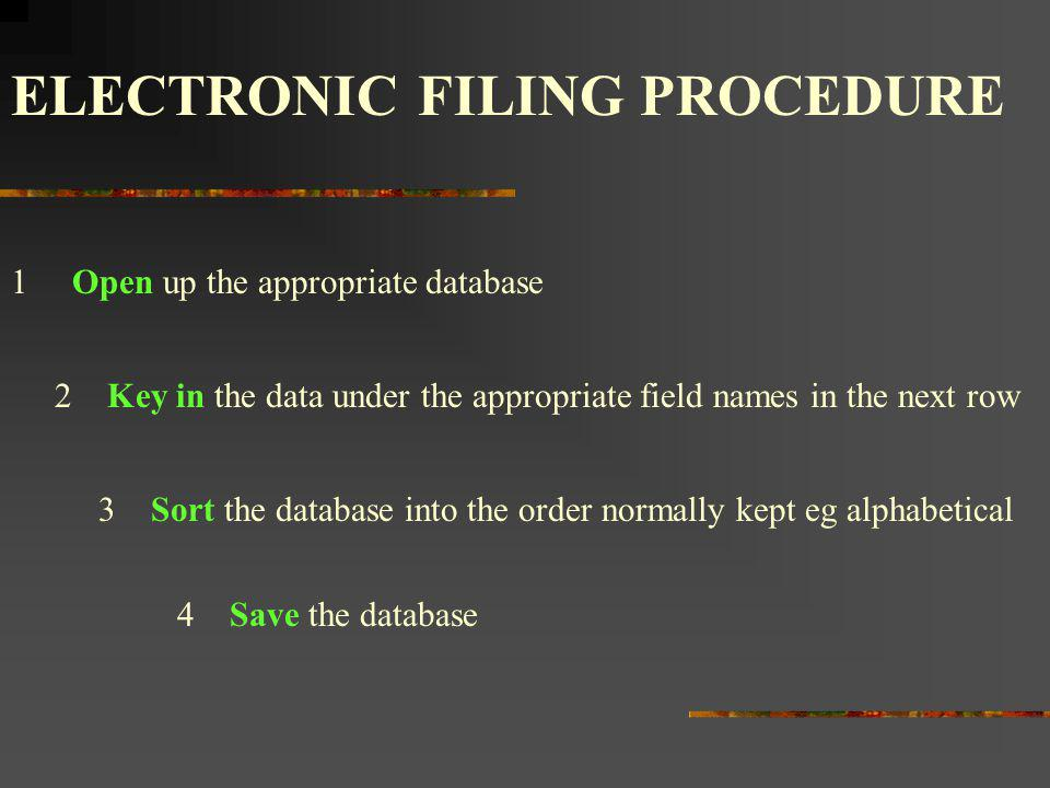 ELECTRONIC FILING PROCEDURE