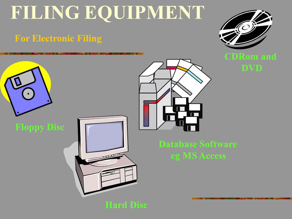 FILING EQUIPMENT For Electronic Filing CDRom and DVD Floppy Disc