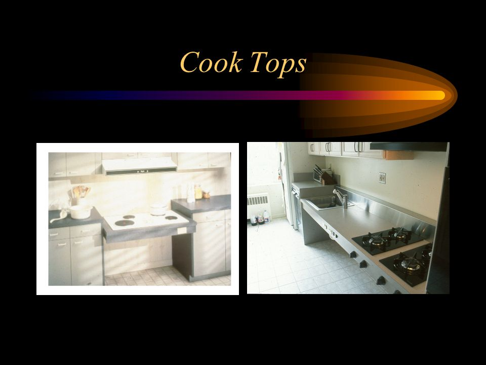 Cook Tops In the left picture, see the staggered burners.