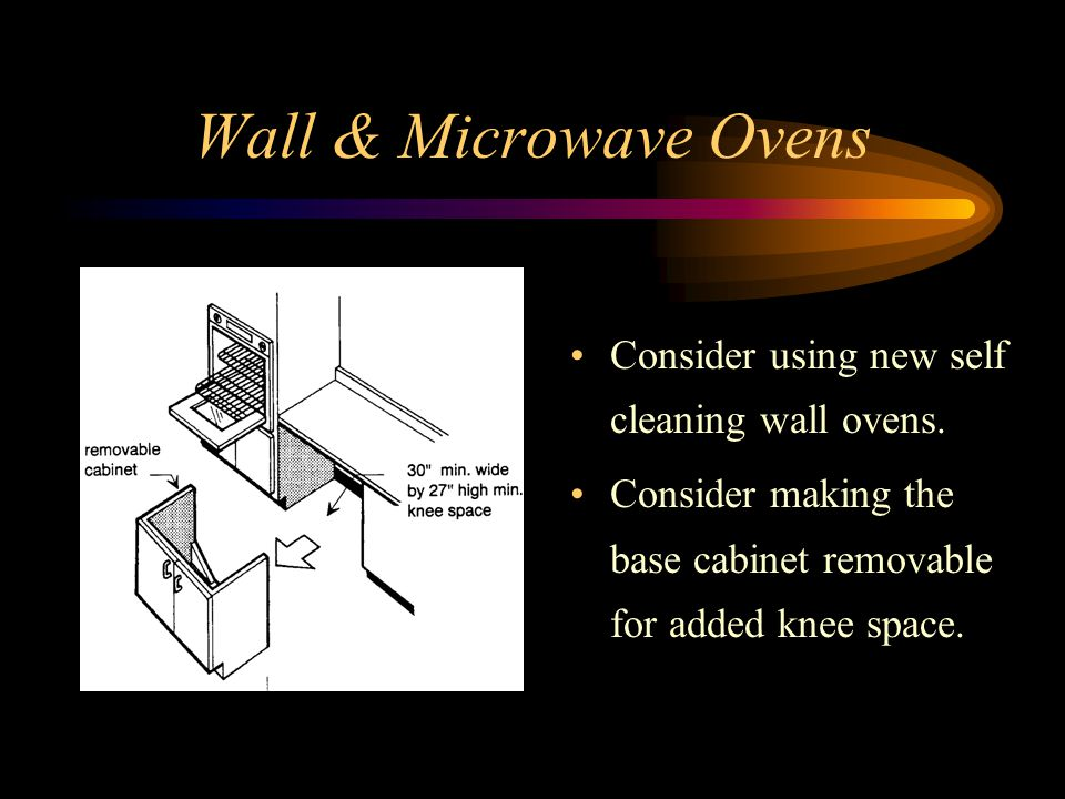 Wall & Microwave Ovens Consider using new self cleaning wall ovens.