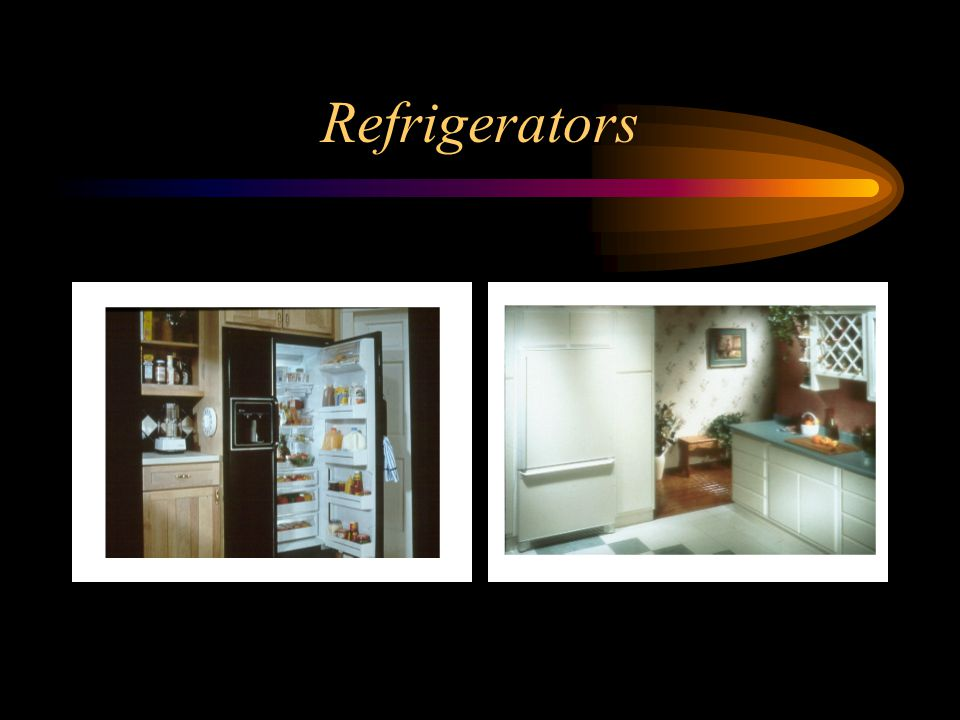 Refrigerators In the left picture, see the side-by-side model refrigerator.