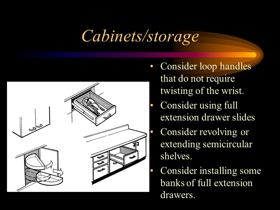Cabinets/storage Consider loop handles that do not require twisting of the wrist. Consider using full extension drawer slides.
