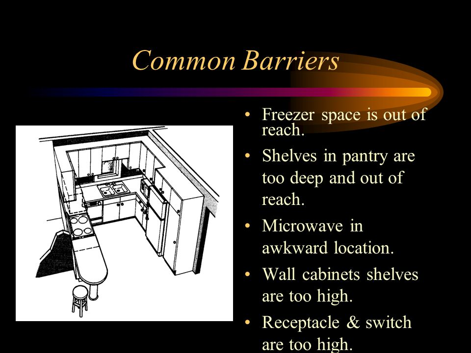 Common Barriers Freezer space is out of reach.