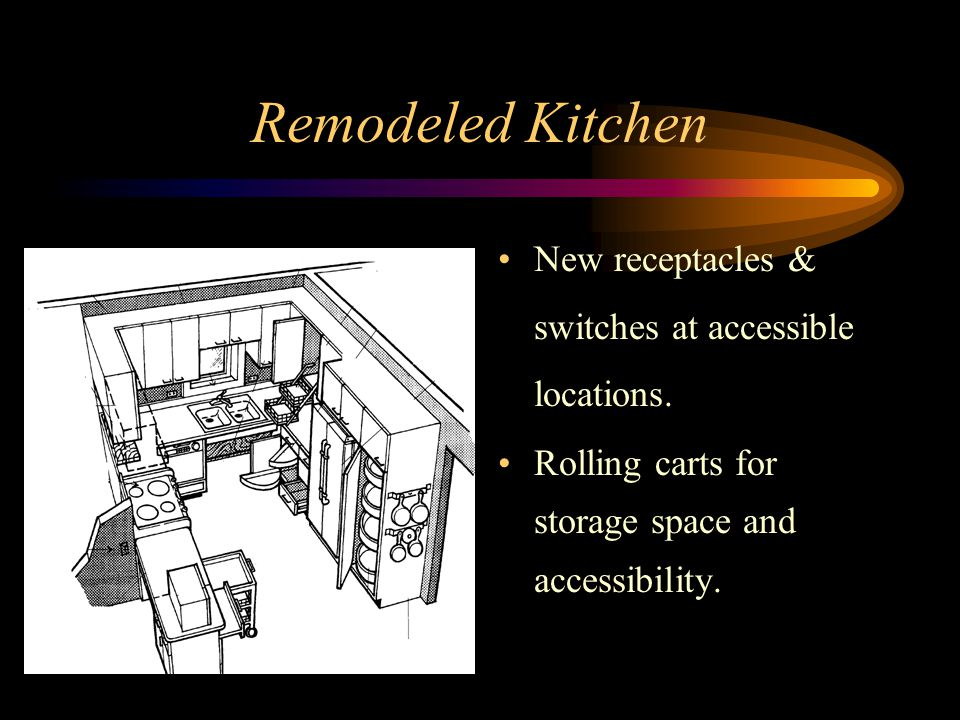 Remodeled Kitchen New receptacles & switches at accessible locations.