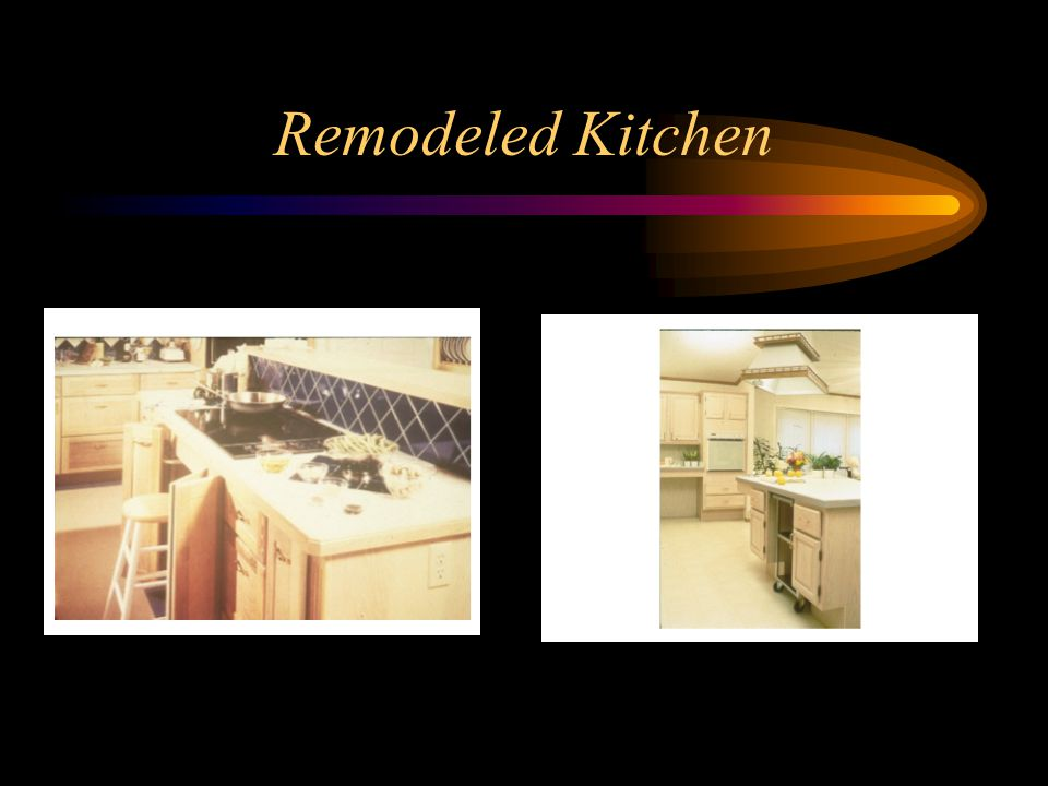 Remodeled Kitchen In left picture see the accessible receptacle.