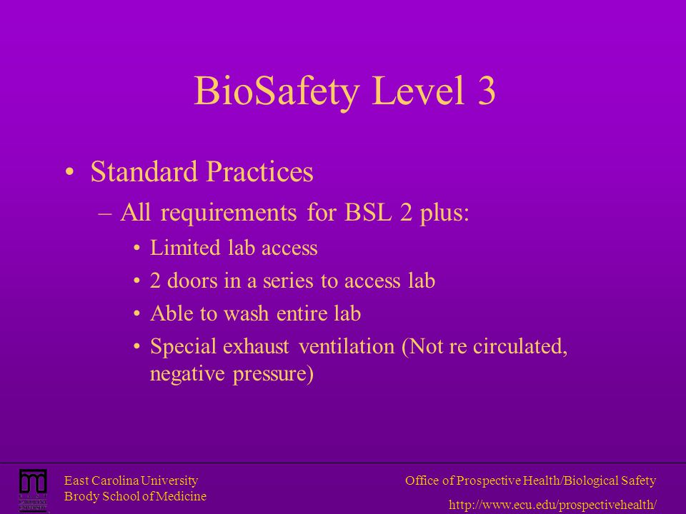 BioSafety Level 3 Standard Practices All requirements for BSL 2 plus:
