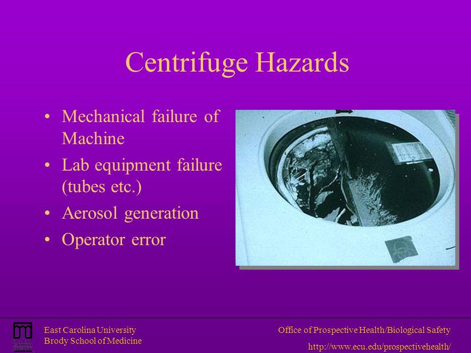 Centrifuge Hazards Mechanical failure of Machine